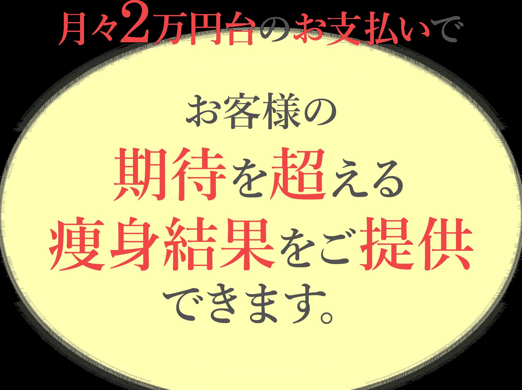 月々2万円台のお支払いで、お客様の期待を超える痩身結果をご提供できます